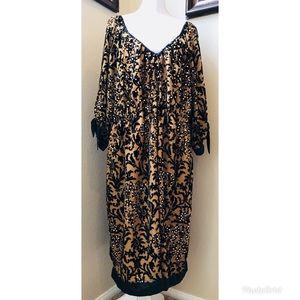 Roamans Black Gold Satin Velvet Glam Dress Sz. 24W